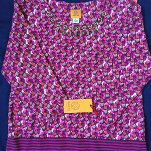 Beautiful Ruby Rd Pullover Top Pink/Purple